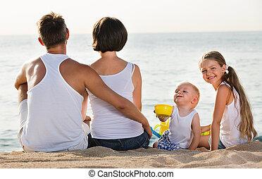 人, カメラの背部, 女, 子供, 浜, モデル