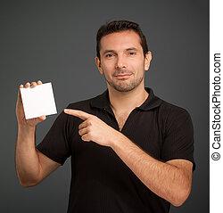 人, カード, ブランク, 指すこと