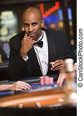 人, ギャンブル, ∥において∥, ルーレットテーブル, 中に, カジノ