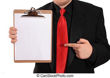 人, クリップボード, ページ, 保有物, ブランク