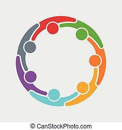 人, グラフィック, 7人の人々