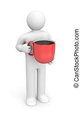 人, コーヒー, 赤いコップ