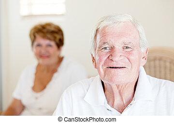 人, シニア, 彼の, 背景, 妻