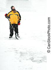 人, シャベルで掘ること, 雪