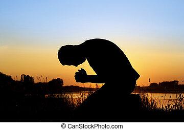 人, シルエット, 祈ること