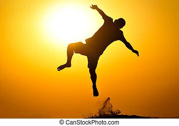 人, ジャンプ, 日没