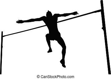 人, ジャンプ, 運動選手, 高く