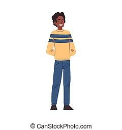 人, スタイル, 人, 幸せ, 漫画, アフリカ, イラスト, 偶然, 微笑, ベクトル, 若い, 特徴, アメリカ人, 衣服