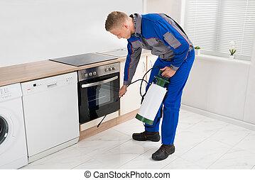 人, スプレーをかける, 殺虫剤, 中に, 台所, 部屋