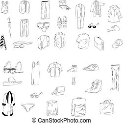 人, セット, 衣類, 女性
