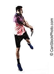 人, テニス, 若い, 遊び