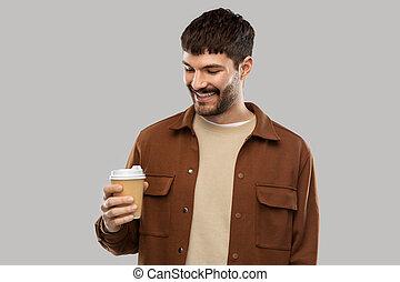 人, テークアウト, カップ, 微笑, コーヒー, 若い