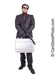 人, ハンサム, 銃, 保有物, スーツケース