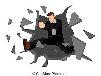 人, ビジネス, wall., ベクトル, 下方に, 壊れる, イラスト