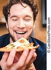 人, ピザを 食べること