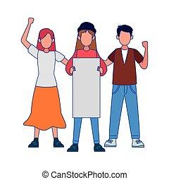 人, ブランク, protestating, プラカード, 女性
