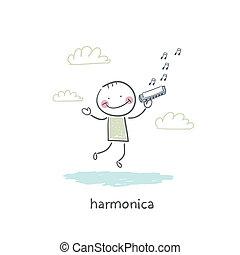 人, プレーする, ハーモニカ