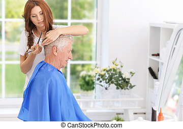人, ヘアカット, 持つこと, 美容師