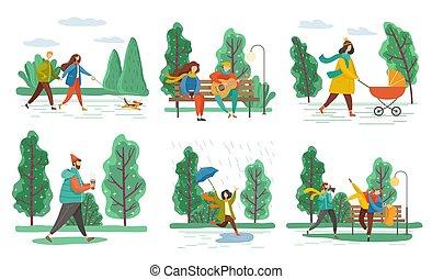 人, ベクトル, 歩くこと, 公園, 女, 子供