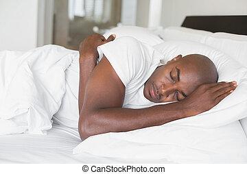 人, ベッド, 平和である, 睡眠