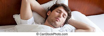 人, ベッド, 睡眠