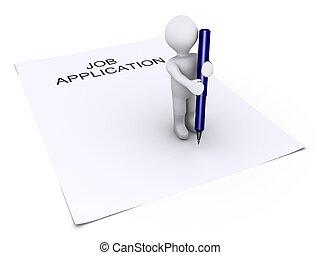 人, ペンを持つ, ある, 上に, 就職申し込み, ペーパー