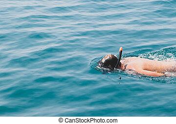 人, マスク, 青, snorkeling, 海洋