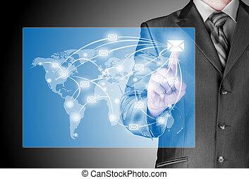人, メール, 配りなさい, ビジネス, デジタル