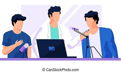 人, ラップトップ, 人, ガウン, スタジオ, microphone., 医学, 彼の, レコード, 声, 仕事