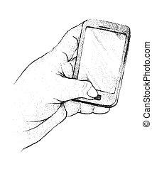 人, 一般的, 手, 電話, 使うこと, 痛みなさい