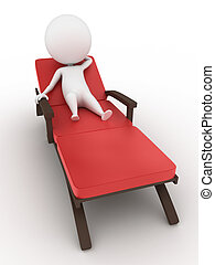 人, 上に, デッキ, 椅子