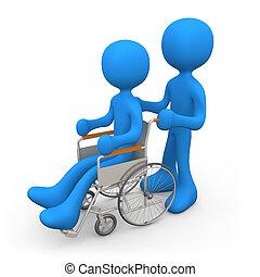 人, 上に, 車椅子
