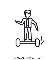 人, 上に, gyroscooter, 概念, ベクトル, 薄いライン, アイコン, シンボル, 印, イラスト, 上に, 隔離された, 背景