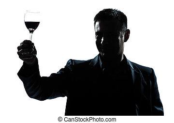 人, 上昇, の上, こんがり焼ける, 彼の, 赤ワイン の ガラス