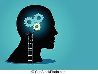人, 上, 梯子, 安裝, 齒輪, 上, 人的 頭