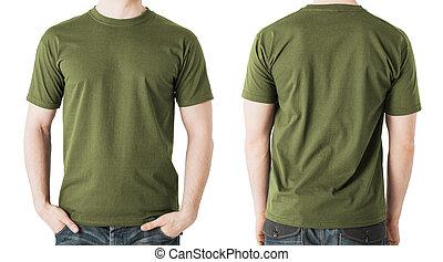 人, 中に, ブランク, カーキ色, tシャツ, 前部, そして, ビューを支持しなさい