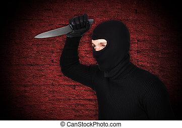 人, 中に, マスク, ∥で∥, ナイフ