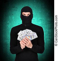 人, 中に, マスク, 保有物, ドル