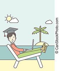 人, 中に, 卒業式帽子, 上に, seashore.