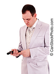 人, 中に, 白, スーツ, reload, ∥, 銃