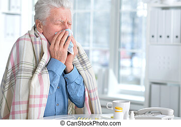 人, 丸薬, 年配, 病気