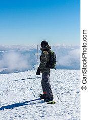 人, 乗車, 上に, a, snowboard