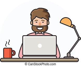 人, 仕事, イラスト, ベクトル, computer., ひげ, 幸せ