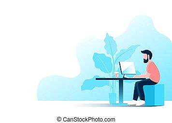 人, 仕事, コンピュータ, オフィス。, 若い