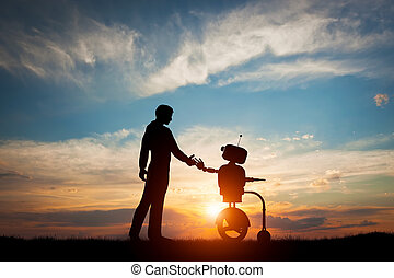 人, 以及, 機器人, 會見, 以及, handshake., 概念, ......的, 未來, 相互作用, 由于,...
