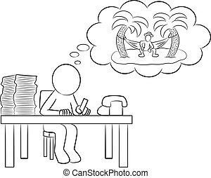 人, 休暇, オフィス, 夢を見ること
