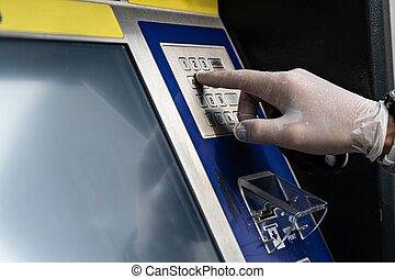 人, 使うこと, 手袋, お金, atmマシン, 保護である