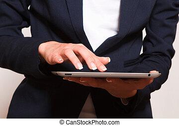 人, 使うこと, 現代, タブレット, device.