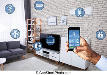 人, 使用, 家, 控制, 系统, 在上, cellphone
