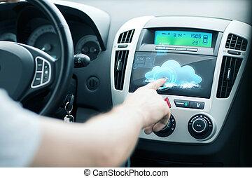人, 使用, 汽车, 控制面板